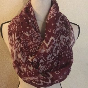 Pretty purple and white infinity scarf